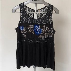 Free People summer top with embroider